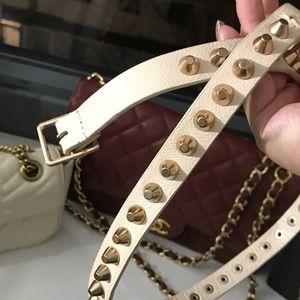 Zara gold metal leather belt